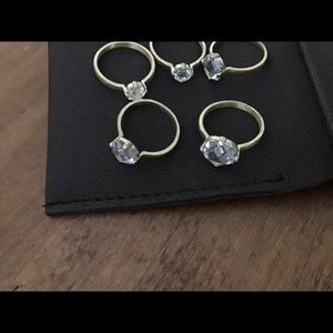 5 Stackable crystal and brushed gold rings